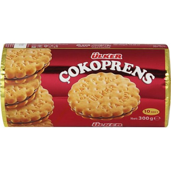 Ülker Çokoprens Chocosandwich Biscüvits with Hazelnut Cocoa Cream Pack (10 pcs)
